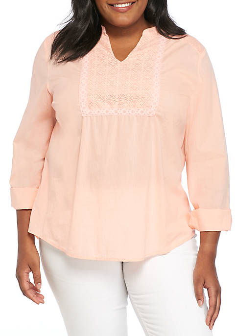 New Directions® Plus Size Eyelet Mix Roll-Tab Top