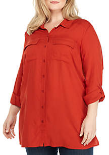 Plus Size Button Front Camp Shirt