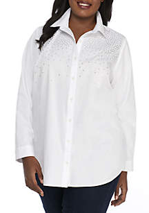 Plus Size High Low Easy Button Up Top