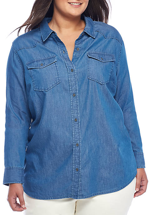 New Directions® Chambray Roll-Sleeve Button Up Shirt