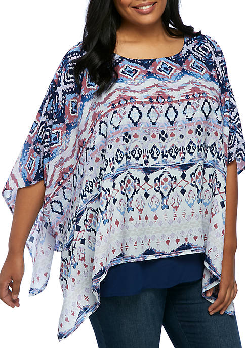 New Directions® Plus Size Double Layer Kimono Top