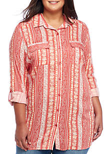 Plus Size Button-Up Camp Shirt
