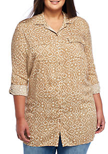 Plus Size Button Front Camp Shirt