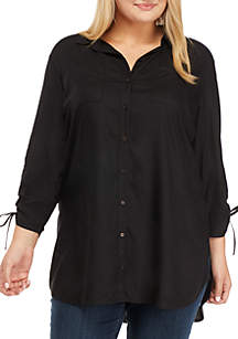 Plus Size Cinched Sleeve Button Front Shirt