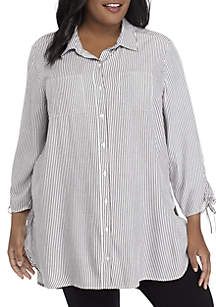 Plus Size Stripe Cinched Sleeve Top