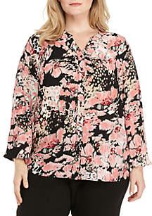 Plus Size Y-Neck Button Front Shirt