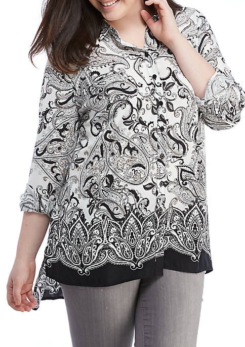 New Directions® Plus Size Roll Tab Sleeve Tunic