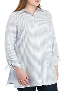 New Directions® Plus Size Cinched Sleeve Button Down Top