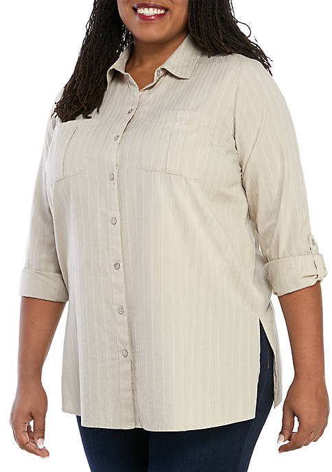 Plus Size Roll Tab Camp Shirt