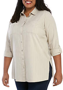 New Directions® Plus Size Roll Tab Camp Shirt