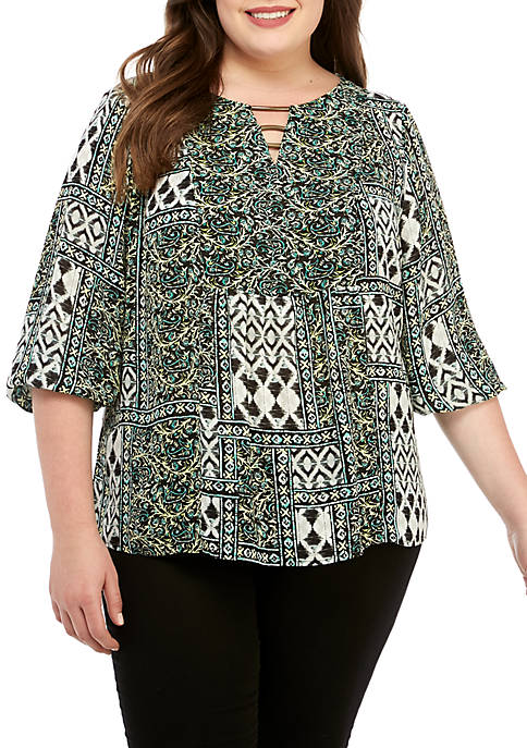 New Directions® Plus Size 3/4 Sleeve Mixed Print