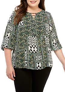 New Directions® Plus Size 3/4 Sleeve Mixed Print Blouse