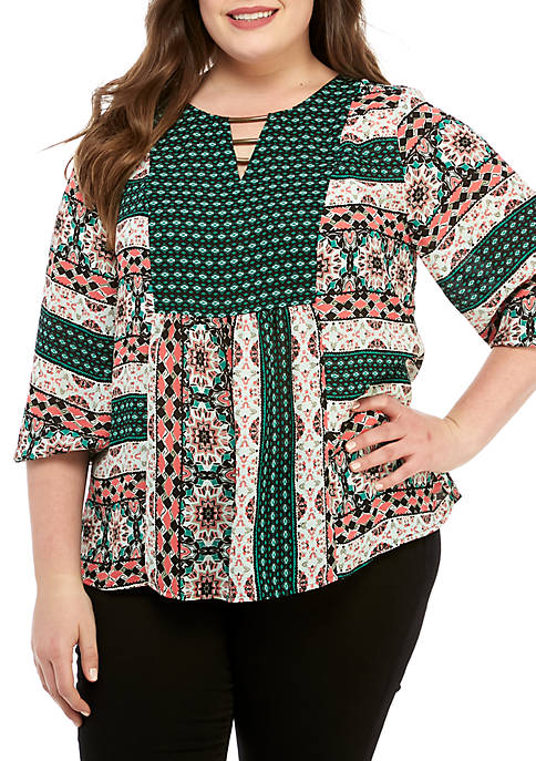 Plus Size 3/4 Sleeve Mixed Print Blouse