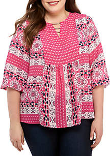 New Directions® Plus Size 3/4 Sleeve Mixed Print Top