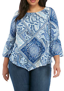 New Directions® Plus Size Keyhole Neck Peasant Top