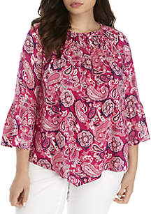New Directions® Plus Size Keyhole Paisley Woven Top