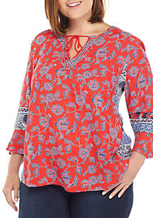 3c65a6aa07046 ... New Directions® Plus Size 3/4 Sleeve V Neck Mixed Media Peasant Top