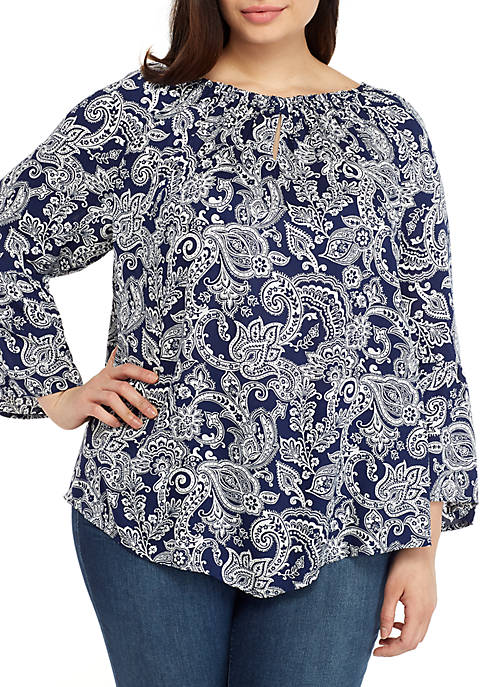 New Directions® Plus Size Keyhole Printed Hem Top