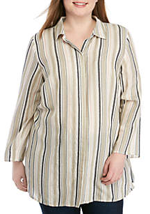 New Directions® Plus Size Button Down Top