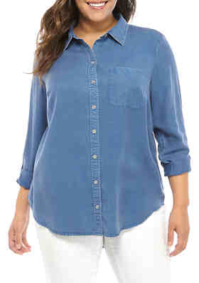NEW Plus Size Light /& Medium Demin Blue Button Front Shirt L//XL//1X-2X-3X
