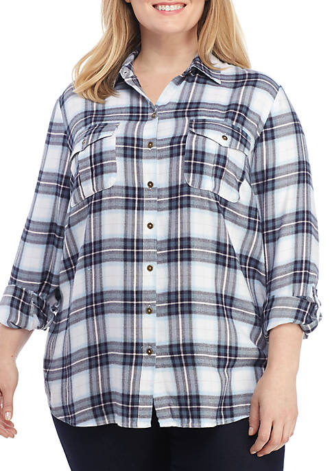 New Directions® Plus Size Boyfriend Shirt