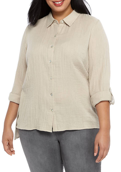 Plus Size Button Down Tunic Top