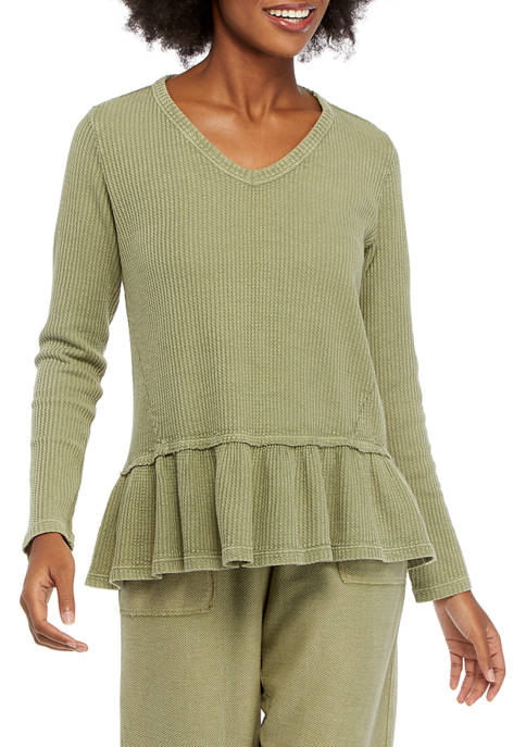 New Directions® Studio Womens Long Sleeve Waffle Knit
