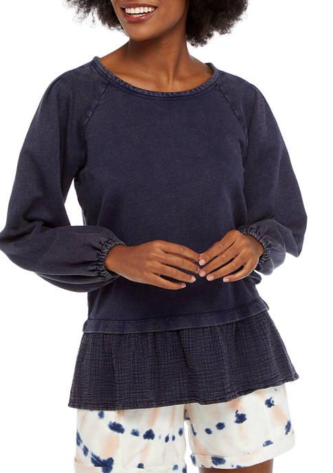 New Directions® Studio Womens Bubble Sleeve Peplum Top