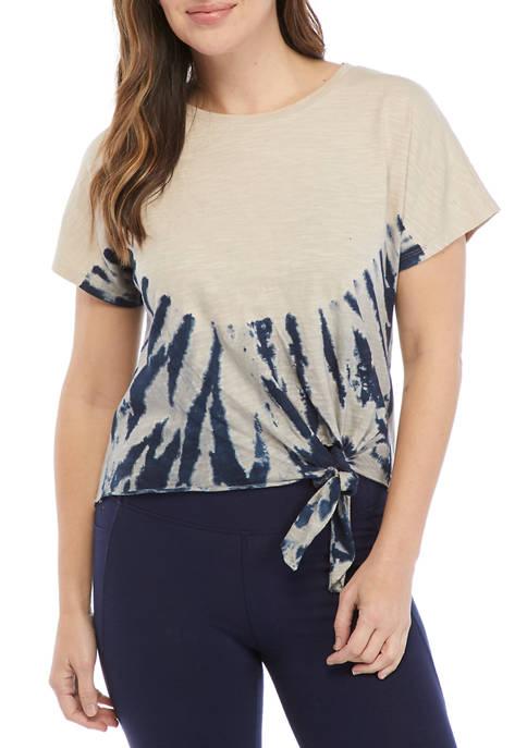 New Directions® Studio Womens Short Sleeve Tie Front