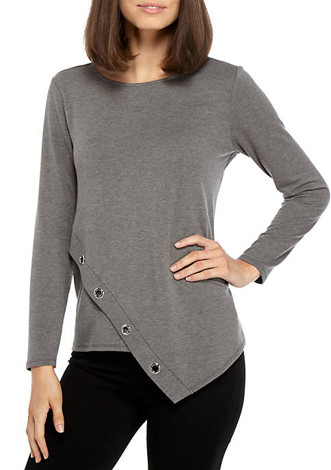 New Directions® Knit Cross Front Top with Grommet