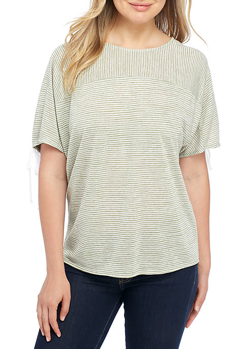 New Directions® Short Sleeve Stripe Ruched Back Detail