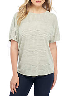 Short Sleeve Stripe Ruched Back Detail Tee