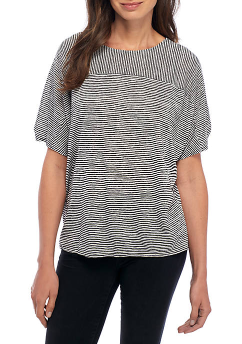 New Directions® Short Sleeve Striped Tee with Ruched