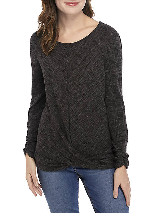 Textured Knot Front Top