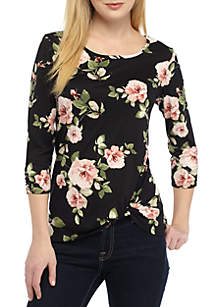 Floral Printed Knot Front Top