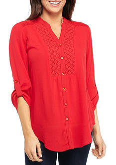 New Directions® Three-Quarter Roll Tab Tie Front Blouse
