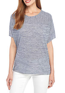 New Directions® Ruched Back Stripe T Shirt