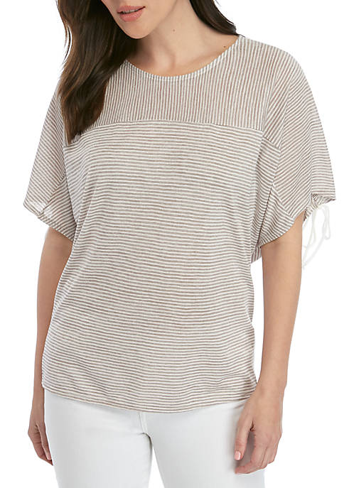 Ruched Sleeve Striped T Shirt