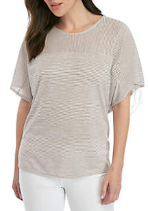 New Directions® Ruched Sleeve Striped T Shirt