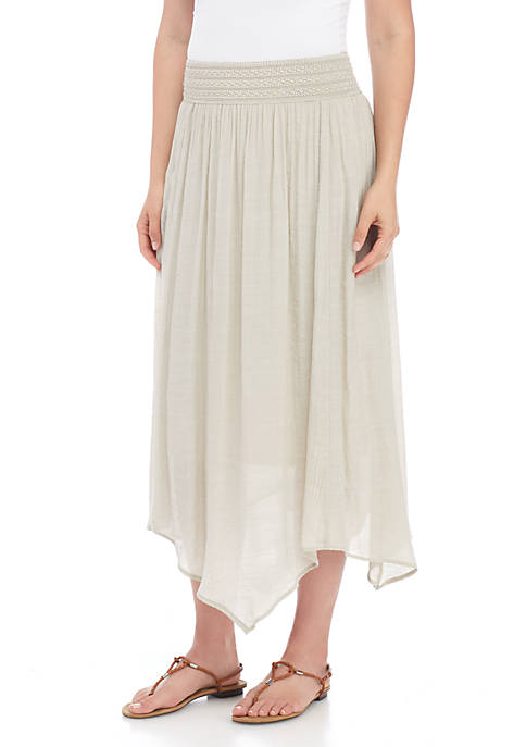 New Directions® Point Front Linen Slub Novelty Waist
