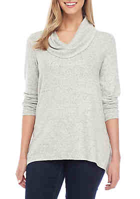 457cb4811c764a New Directions® Long Sleeve Brushed Herringbone Cowl Neck Top ...