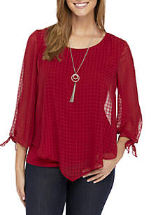 Long Sleeve Grid Popover Knit Top