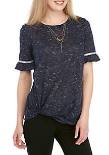 New Directions® Short Sleeve Twist Front Embroidered Sleeve Tee with Necklace