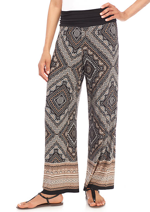 New Directions® Ruched Waist Printed Palazzo Pants