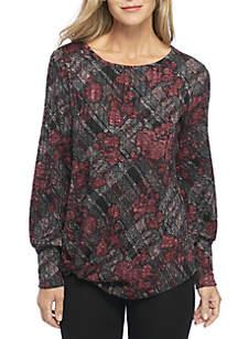 Long Sleeve Rib Knit Printed Top