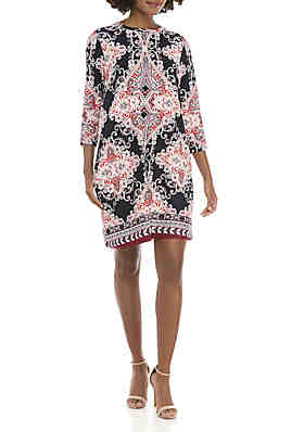 f49814cf9a9 New Directions® 3 4 Sleeve Puff Print Swing Dress ...