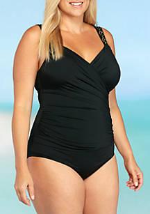2bb8c894bcba0 Jantzen Plus Size Novelty Shoulder One Piece Swimsuit
