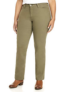 Plus Size Classic Stretch Olive Twill Pants