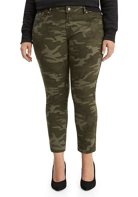 711 Plus Size Skinny Ankle Soft Camouflage Jeans