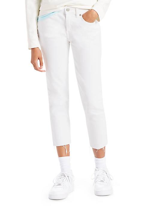 Boyfriend Unrolled Soft Clean White Jeans